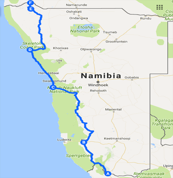 Map of Matt Napier's upcoming 2017 expedition across Africa